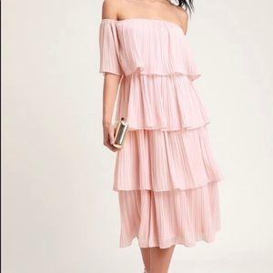 Lulus Blush Off the Shoulder Dress
